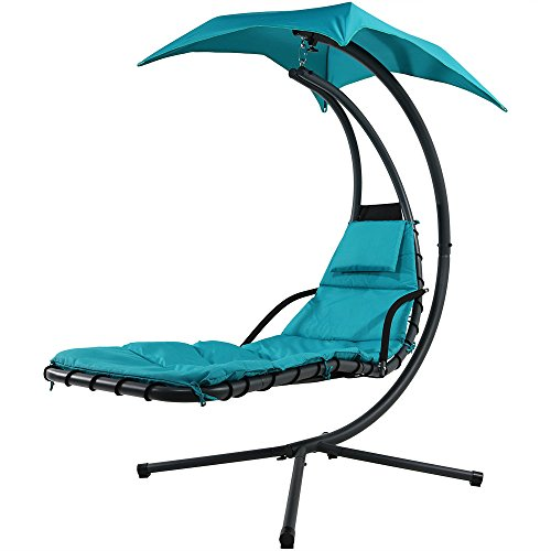 Sunnydaze Teal Floating Chaise Lounger Swing Chair with Canopy Umbrella, 43 Inch Wide x 80 Inch Tall - Outdoor Single Chaise