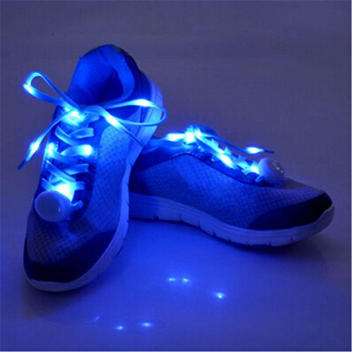 TraveT Night Running Shoelaces LED Light Up Luminous Flashing Nylon Shoe Laces Shoestring for Party Hip-hop Dancing Cycling Hiking Skating Decorations