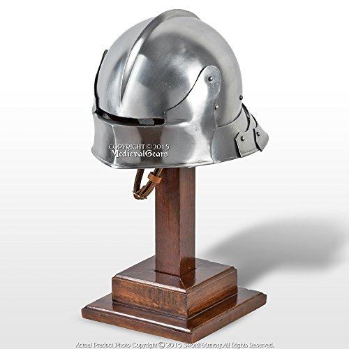 Medieval Gears Brand Functional Medieval German Sallet Fighting Combat Helmet Articulate Tail 16G SCA ()
