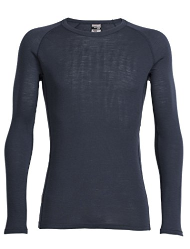 Icebreaker Merino Men's Everyday Long Sleeve Crewe Top, Stealth, Medium - Ice Breaker Wool Shirt