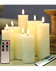 Eywamage Ivory LED Pillar Candles with Remote Timer Real Wax Flameless Electric Candles