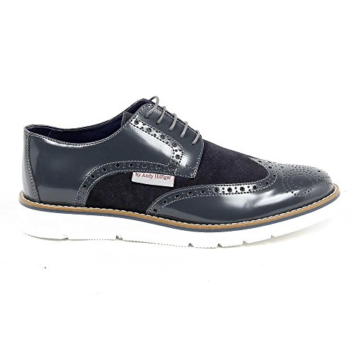 Blauw 42 Eur - 9 Us Andrew Charles Heren Brogue Oxford Shoe 914 Abrasivato Cam Grigio Bleu