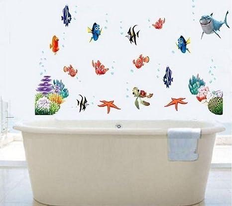 Decobay Finding Nemo Fisch Wand Sticker Mehrweg Wiederverwertbar Kinder Aufkleber Badezimmer Wandtattoo Kinderzimmer Wandsticker Amazon De Kuche Haushalt
