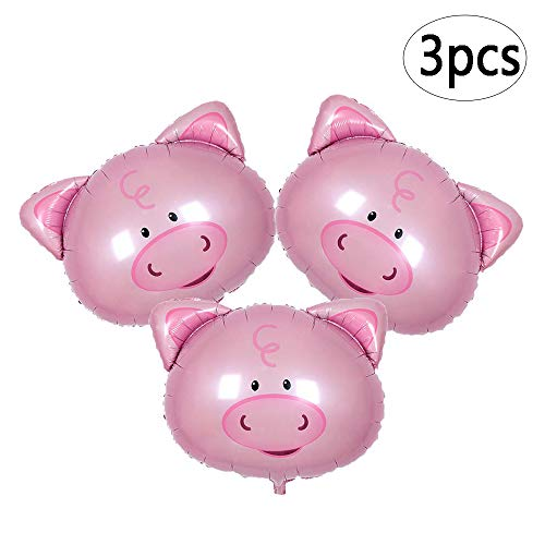 BinaryABC Pink Pig Head Foil Balloons,Birthday Wedding Baby Shower Party Decorations,3Pcs]()