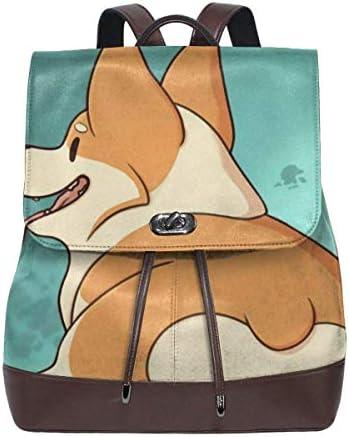 Flyup PU Leder Rucksack Women Backpack Purse Corgi Butt Waterproof PU Leather Anti theft Schoolbag Lightweight Rucksack