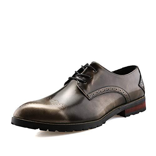 argent 39 EU Jujianfu Chaussures de Mode pour Homme Oxford Chaussures de Style Schematic à Lacets en Cuir PU à Bout Pointu et Talon surélevé