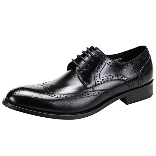 Fawavwo OBM Men's Oxford ITALY PRINCE Modern Wing Tip Lace Dress Shoes Brogue Wedding Shoe