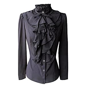 Shirts for Women Stand-Up Collar Vintage Victoria Ruffle Bow Blouse
