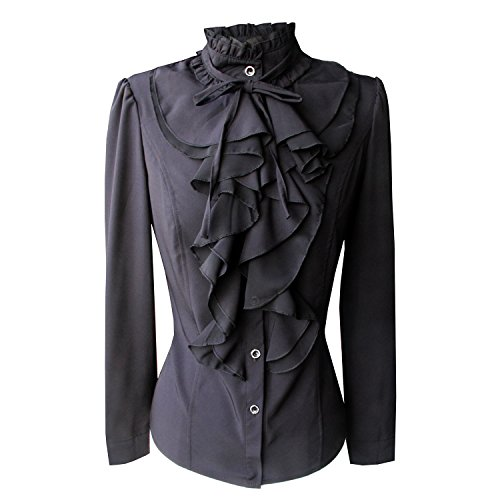Y&Z Shirts for Women Stand-Up Collar Vintage Victoria Ruffle + Brooch BS02 Black