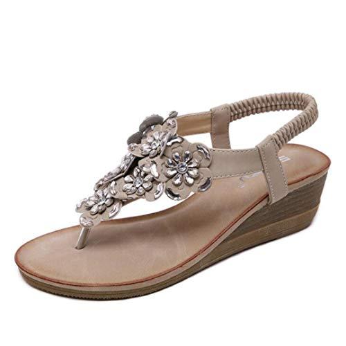 (MEIZOKEN Women's Bohemian T-Strap Platform Sandals Rhinestone Bead Wedge Beach Sandal Shoes Beige)