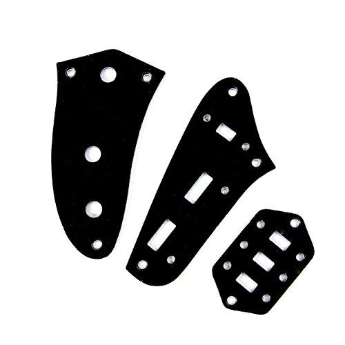(Control Plate Set For Jaguar Style Guitar,Plastic PVC 3ply Black (Set of 3))