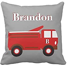 Cute Boy's pillow case cover 24*24, Red Firetruck on Gray, add Name Throw pillow case cover 24*24