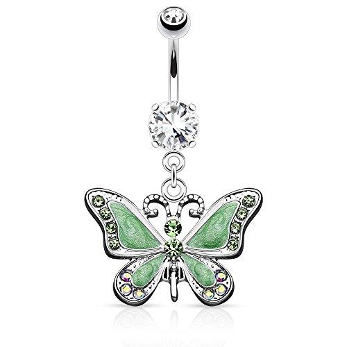 PiercedOff Vert Papillon avec strass pour nombril