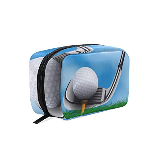 Golf Ball Club Front Grass Travel Makeup Bags Cosmetic Storage Pouch Case (Front Plain Twill Club)