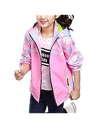Zhhlinyuan Girls Hooded Trench Coat Windbreaker Jacket Outwear 3 in 1 Jacket