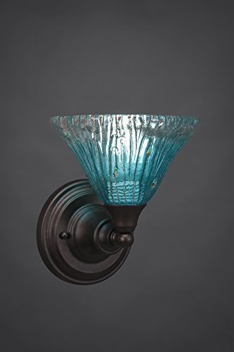 (One Light Wall Sconce with Teal Crystal Glass in Bronze )