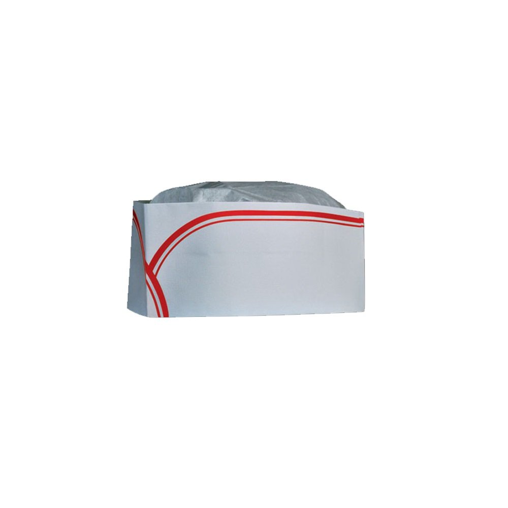 CELLUCAP RC100 Low Profile Overseas/Soda Jerk Hat, Tissue Crown, RED Stripe, Box of 100