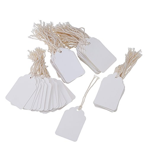 Pangda White Paper Gift Tags Marking Tags Price Tags Price Labels Display Tags with Hanging String, 200 Pack, 44 by 70 mm