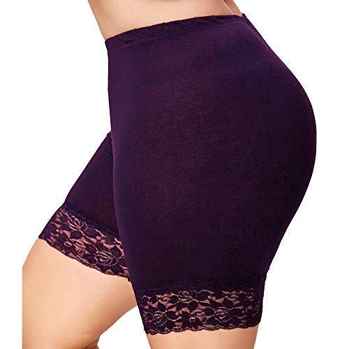 Womens Plus Size Lace Shorts JIN+D Elastic waist Sports Pants yoga workout jogging leggings (S, Purple)