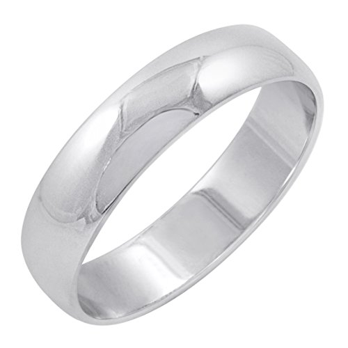 Men's 14K White Gold 5mm Traditional Plain Wedding Band (Available Ring Sizes 8-12 1/2) Size 12.5