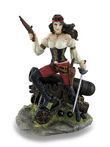 Female Pirate Standing on Cannon Holding Pistol and Cutlass Statue ()