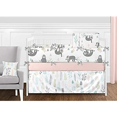 Sweet Jojo Designs Pink and Grey Tropical Leaf Window Treatment Valance - Blush, Turquoise, Gray and Green Botanical Rainforest Jungle Sloth Collection: Baby