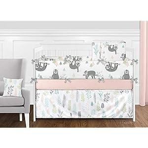 Sweet Jojo Designs Pink and Grey Jungle Sloth Leaf Window Treatment Valance – Blush, Turquoise, Gray and Green Botanical Rainforest
