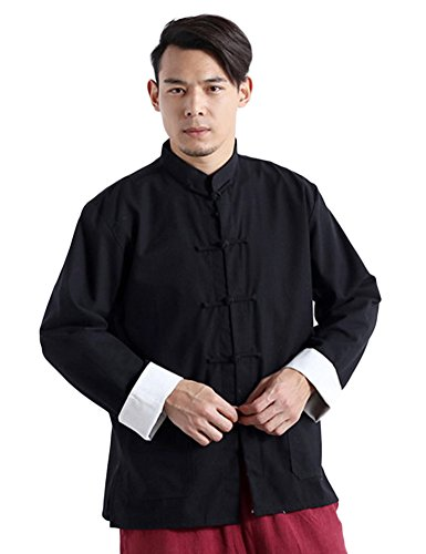 - Idopy Men`s Chinese Traditional Linen Cotton Tai Chi Kung Fu Mandarin Collar Frog-Button Shirt Black Asian M US XS