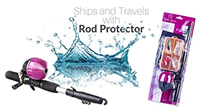 Kids Fishing Rod for Girls | All-in-One Combo Set | Pink Youth Fishing Kit Includes Collapsible Rod, Reel, Tackle Box, Travel Bag, and eBook | Perfect Kids Fishing Pole Gift Kit