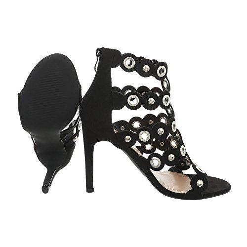 Damen Schuhe Sandaletten Nieten Besetzte High Heels Pumps Schwarz