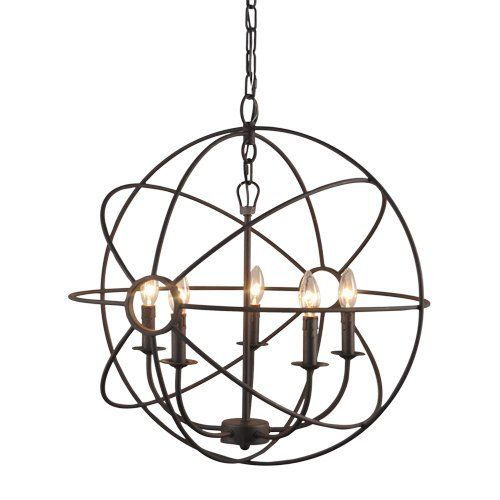 Y Decor LZ2325RS Modern, Transitional ORB 5 Light Chandelier In Dark Bronze Finish, Oil Rubbed Bronze, Brown