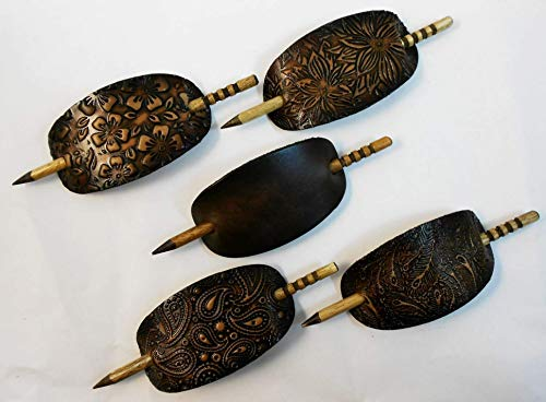 - 2 Large Leather Hair Barrettes w Sticks, Oval Shape Ponytail Holders, Choice of Design