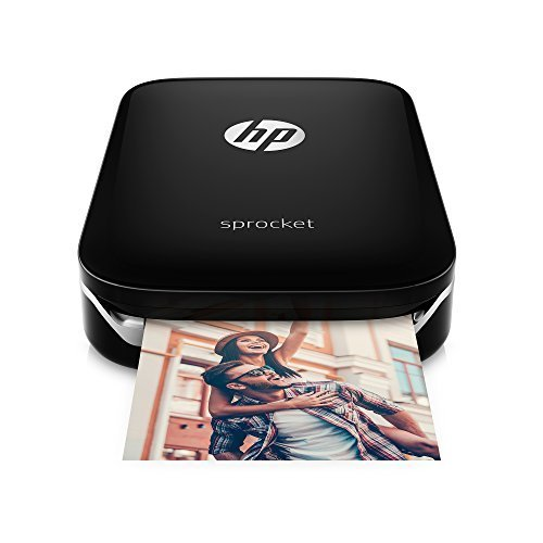 HP Sprocket Portable Photo Printer, Black and Extra Pack of HP(R) Zink Sticker Photo Paper, 50 sheets