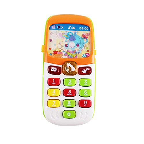 OMGOD Kids Music Mobile Phone Toy, Toddler Designed Learning Cartoon Music Phone Educational Toy Gift Baby Cell Phone for 1 2 3 Year Old Girl Boys Baby Baby Shower Present