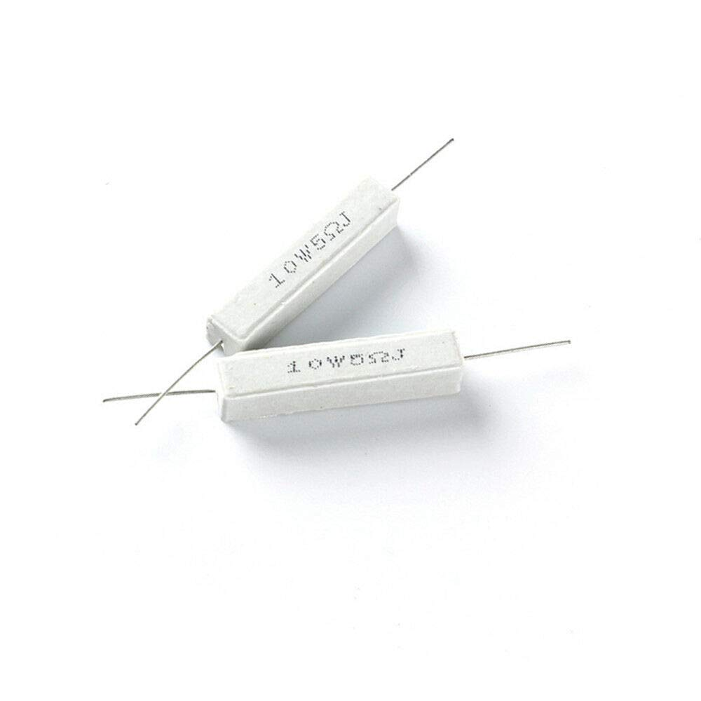 Resistencia de cemento de cer/ámica Wirewound 10 resistencias de 10 W de alta potencia 5 Ohm-330 Ohm blanco color blanco