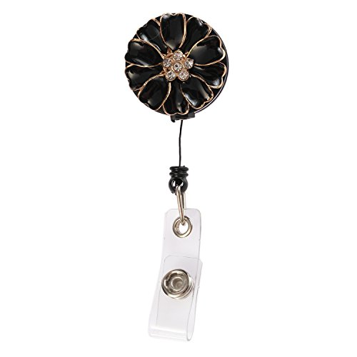 Handmade Retractable Bling Alloy Black Camellia Badge Reel Clip Holder,Rhinestone Medical Nurse Badge ID, Badge Holder, ID Holder, Office Employee Name Badge Reel With 360 Degree Alligator Swivel Clip ()