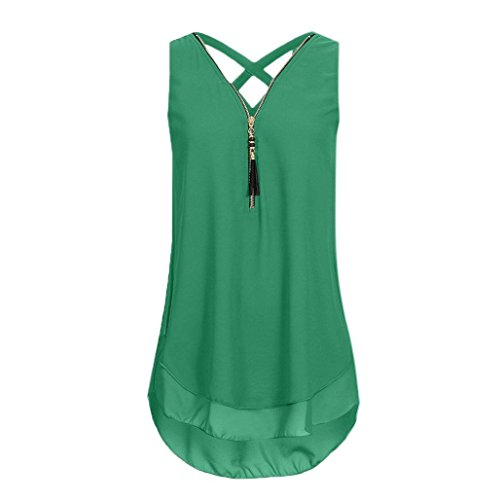 Price comparison product image Women Tops, COPPEN Women Loose Sexy Sleeveless Blouse Tank Top Cross Back Hem Layed Zipper V-Neck T Shirts Tops (2XL,  Army Green)