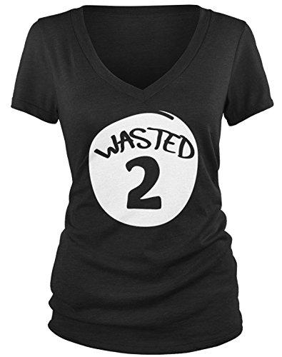 Amdesco Junior's Wasted 2 V-Neck T-Shirt, Black Medium