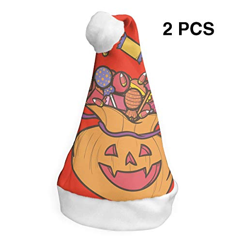Santa Claus Hat Candy Halloween Pumpkin Merry Christmas Hats Adults Children Costume Xmas Decor Party Supplies (2-Pack)]()