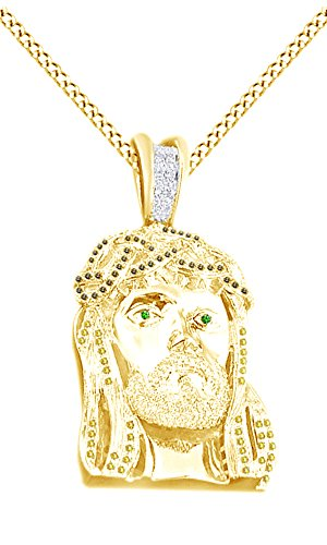 Simulated Multi Color CZ Men's Hip Hop Jesus Face Pendant In 14k Yellow Gold Over Sterling Silver by AFFY