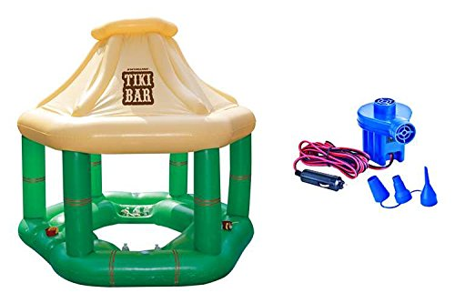 Swimline Fun and Tropical Inflatable Floating Tiki Swim up Bar Complete with 6 Drink Holders, 2 Ice Storage Bins, and a Cool Canopy with Electric 12-Volt Air Pump Icluded - Electrical Floating Canopy