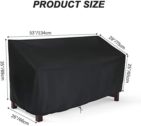 Hengme Outdoor Patio Garden Bench Cover, 2 Seat Outside Park Loveseat, Sofa, Glider, Furniture Cover - Black