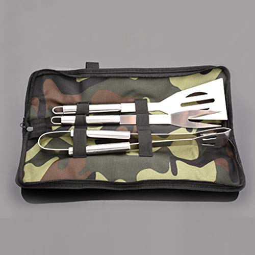 JYL BBQ Tools Set Stainless Steel,Outdoor BBQ Tools, Camouflage Bags All Stainless Steel Three-Piece Set