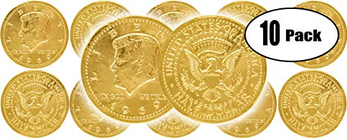 Chocolate Large Half Dollar Gold Coin Gold Belgian Milk Chocolate Coin Kosher -10 Large Half Dollar Coins