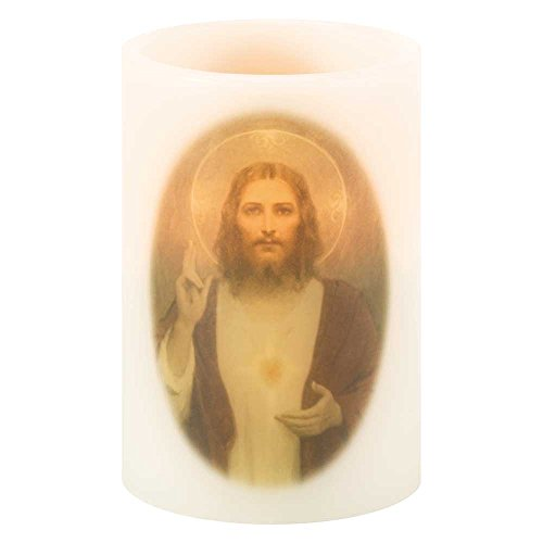 Sacred Heart of Jesus LED Light-up White 4 x 4 Wax Mold Wickless Pillar Candle Decoration