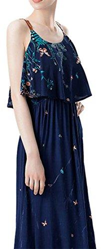 Elastic Loose Womens Navy Maxi Strap Cruiize Sleeveless Waist Print Dress OBXAxqw