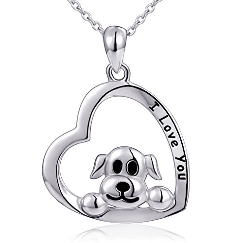(Mom Gifts 925 Sterling Silver I Love You Heart Dog Pendant Necklace for Women,)