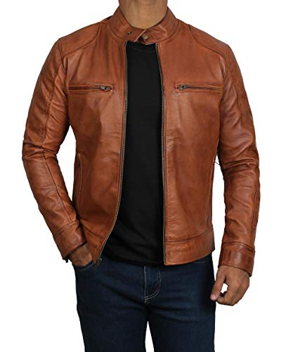 Decrum Distressed Brown Leather Jacket Mens | [1100493] Dodge Tan, M