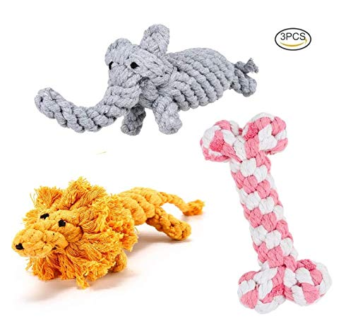Dog Toys - Set of 3 Adorable Chew Dog Toy - Ropes - for All Breeds, Dog Bone, Animal Shaped Toys, Teething Cleaning Toys