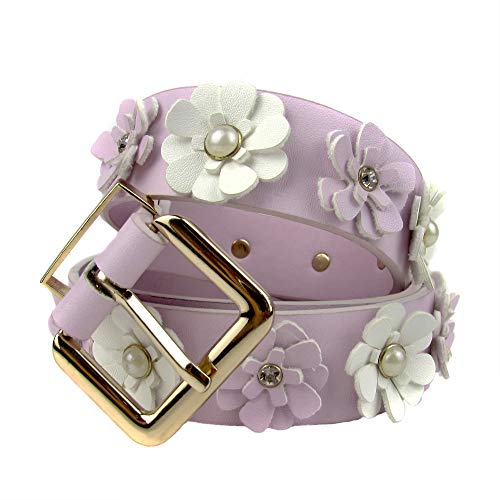 Rose Flower Belt Buckle - Women's Soft PU Leather Belts Slim Cute Rhinestone Rose Flower Pearl Belt for Ladies High Waist Jean Dresses Womans Belts(Pink, L)